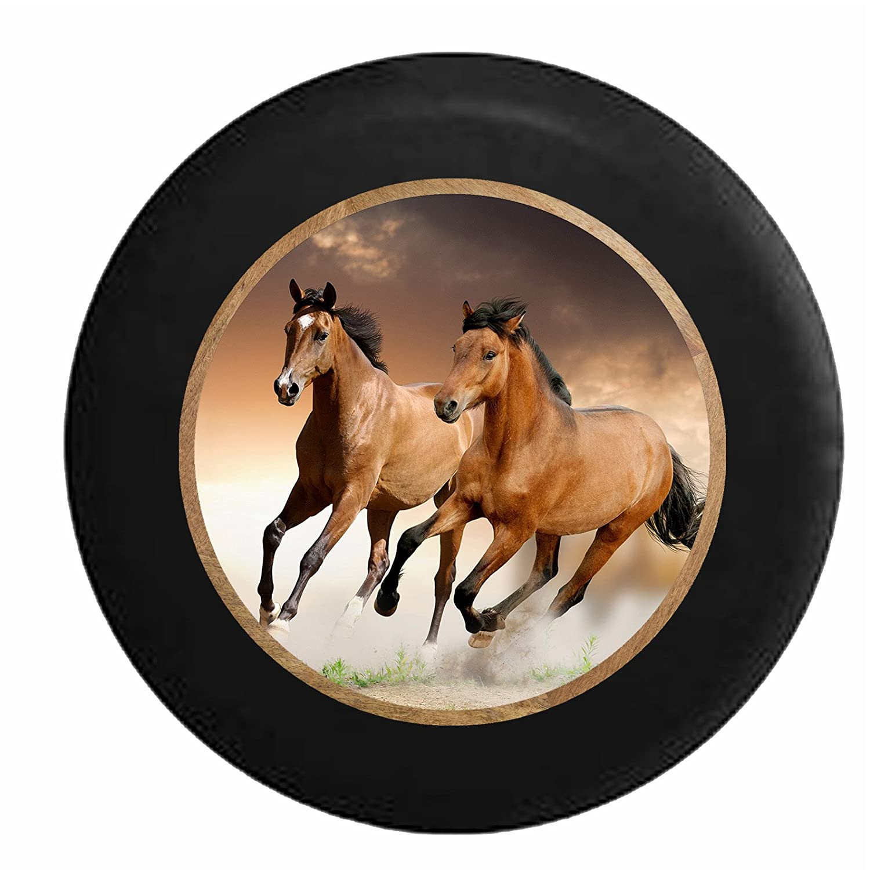 Full Color Galluping Brown /& Tan Horses Jeep RV Camper Spare Tire Cover Black 31 in