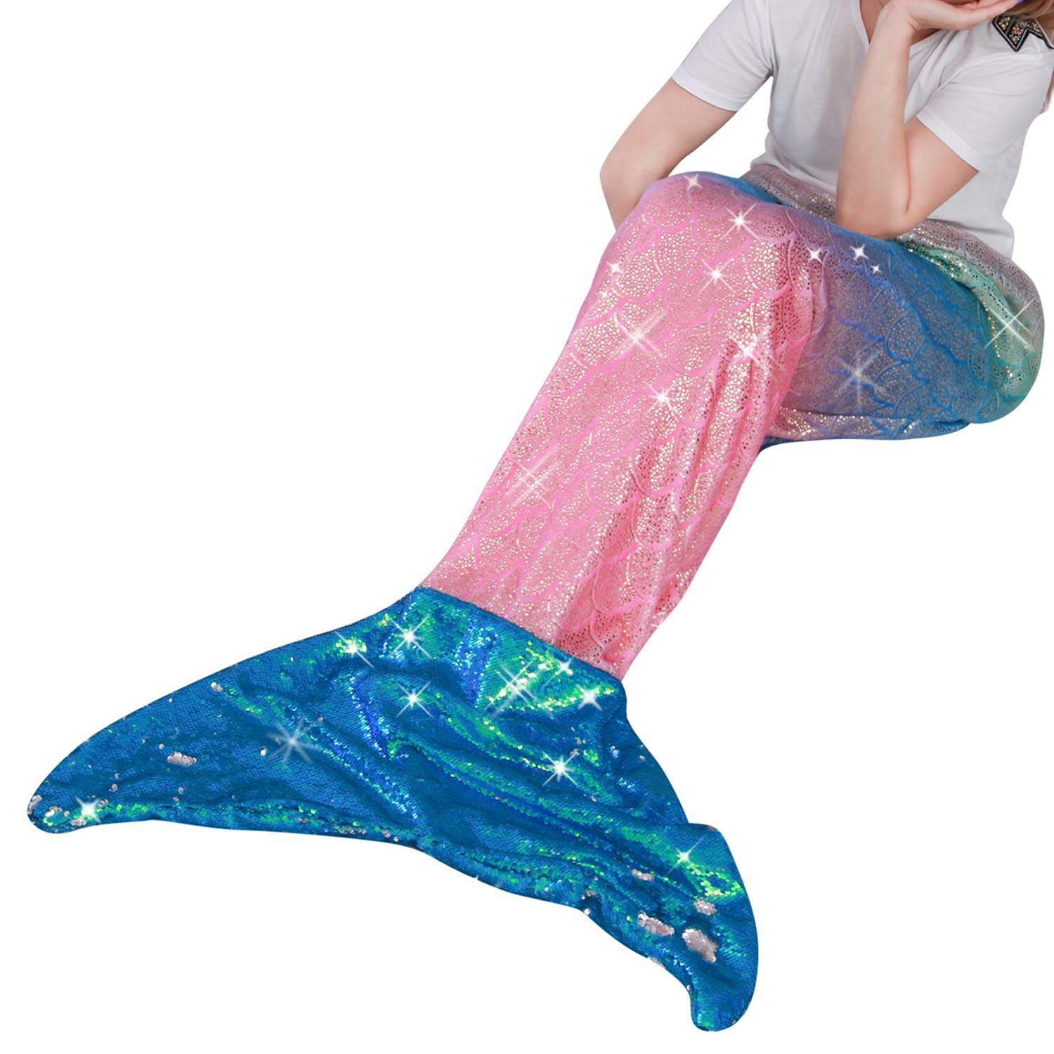 "Mermaid Tail Blanket for Kid Teen Adult,Plush Soft Flannel Fleece All Seasons Sleeping Bag with Twinkle Sequins Tail,Rainbow Glittering Fish Scale Design Snuggle Blanket,Best Gifts for Girls,25""×60"" product image"