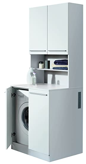 FACKELMANN Waschmaschinen-Tower/Badschrank mit Lüftungsgitter/Maße (B x H x  T): ca. 71 x 201 x 70 cm/hochwertiger Badezimmerschrank/Korpus: ...