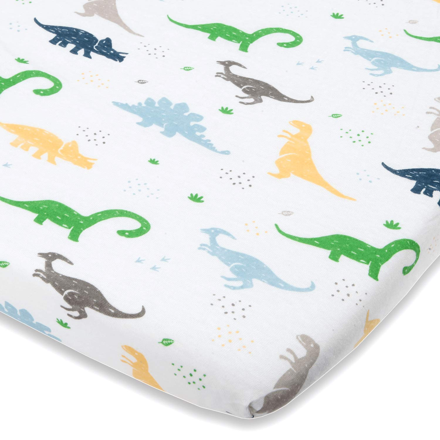 Dinosaur Bassinet Sheets Compatible With Chicco Lullago, Halo Bassinet, Arms Reach Versatile Co Sleeper and Other Oval, Rectangle, Hourglass Bassinet pads - Pure Natural Cotton - Ultra Soft by Cuddly Cubs
