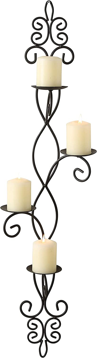 French Country Wall Sconce for 4 Candles, Curled Iron, Rustic Black Craft Finish, Center Spikes, Vertical Orientation, Fleur De Lis, Arabesque, Exclusive, 35 3/4 Inches Tall