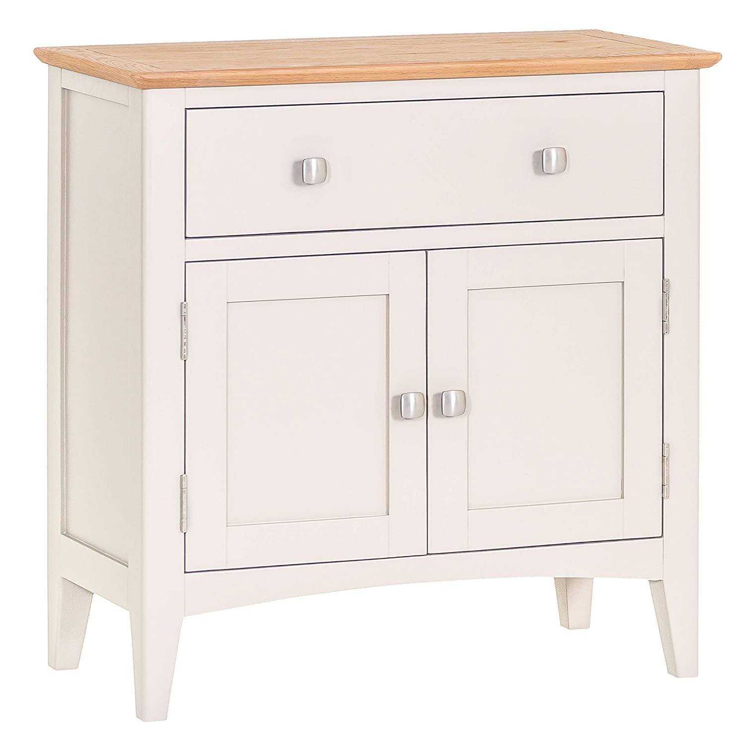 The Furniture Outlet Malvern Shaker Ivory Painted Oak 2 Door Mini Sideboard JTW