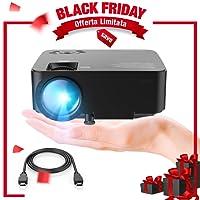 """DBPOWER Mini Projecteur, 2200 Lumen Projecteur vidéo LED HD 1080P avec Un Screen de 176"""", durée de Vie de 50 000 Heures, projecteur de cinéma Maison"""