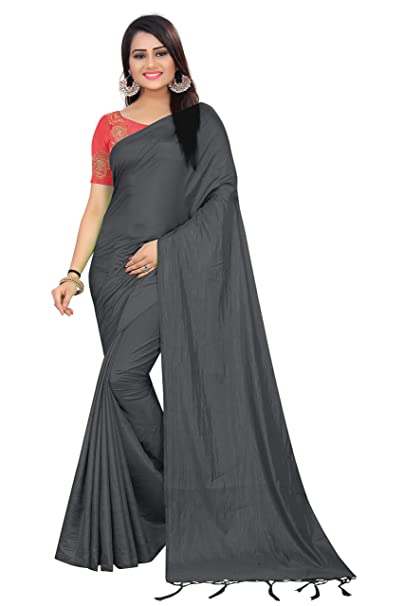 0590dc44bedac SilverStar Women s Plain Paper Silk Saree with Embroidery Work Blouse Piece  (Black)  Amazon.in  Clothing   Accessories