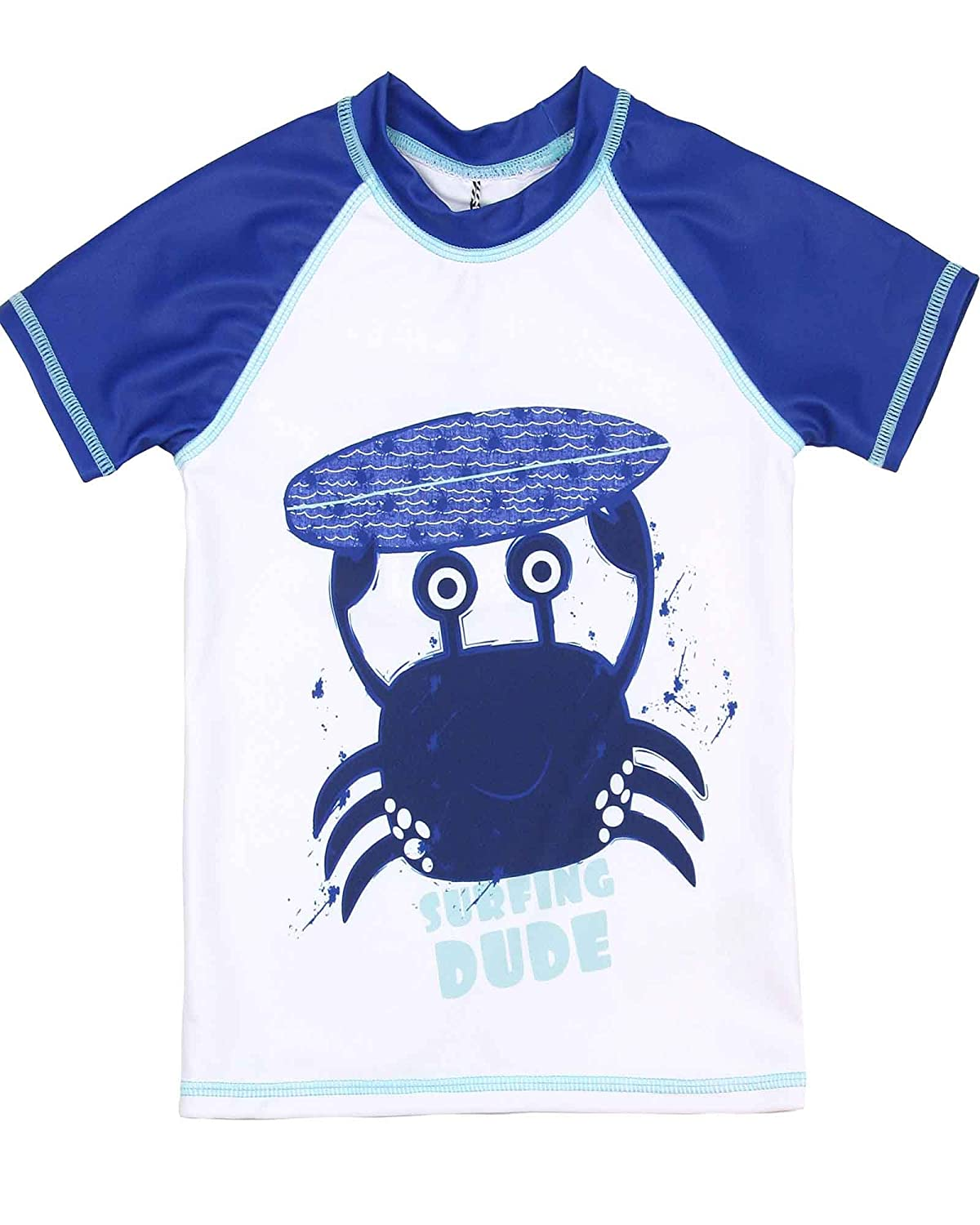 Deux par Deux Boys' Rash Guard T-Shirt with Crab Print Playa Del Mar, Sizes 2-10