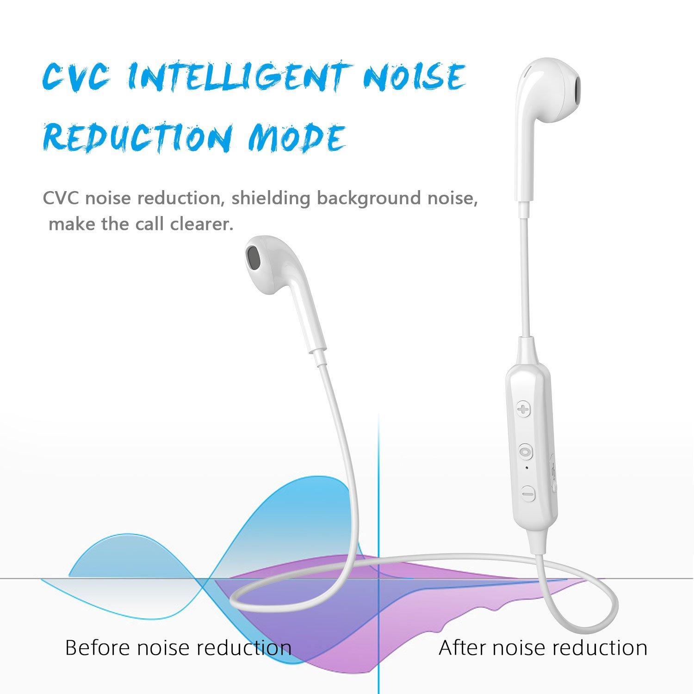 Charlemain Auricolari Bluetooth, Cuffie BluetoothV4.1 Stereo Wireless Senza Fili Cuffiette Bluetooth con Microfono Compatibile con Phone e Android Samsung Note Huawei Xiaomi LG-Bianco