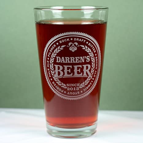 amazon com personalized engraved beer names pint glass custom