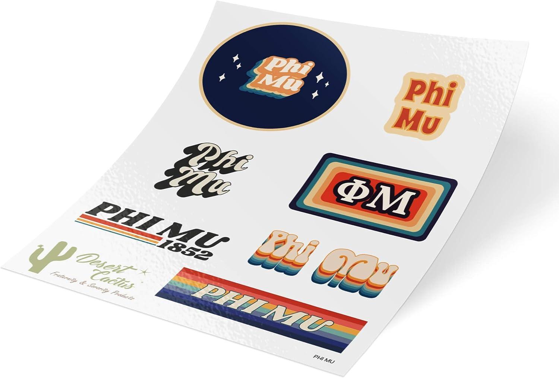 Phi Mu 70's Themed Sticker Sheet Decal Laptop Water Bottle Car (70's Sheet)