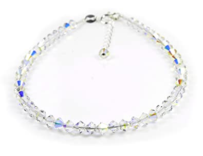 Anklet Sterling Silver with Small Crystal AB Swarovski Crystals sMONgBp