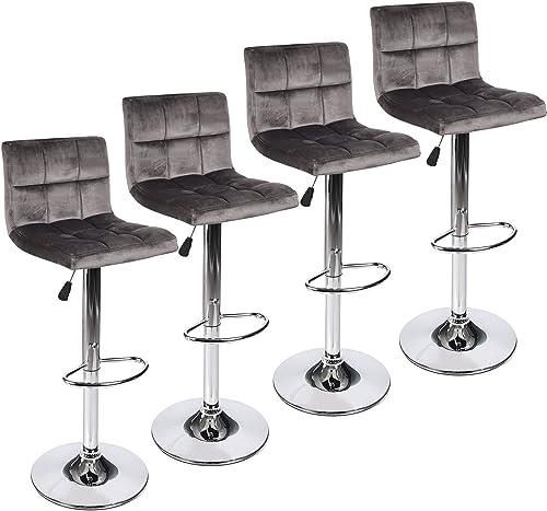 Set of 4 Square Velvet Fabric Armless Chair Adjustable Swivel Gaslift Bar Stool, Grey