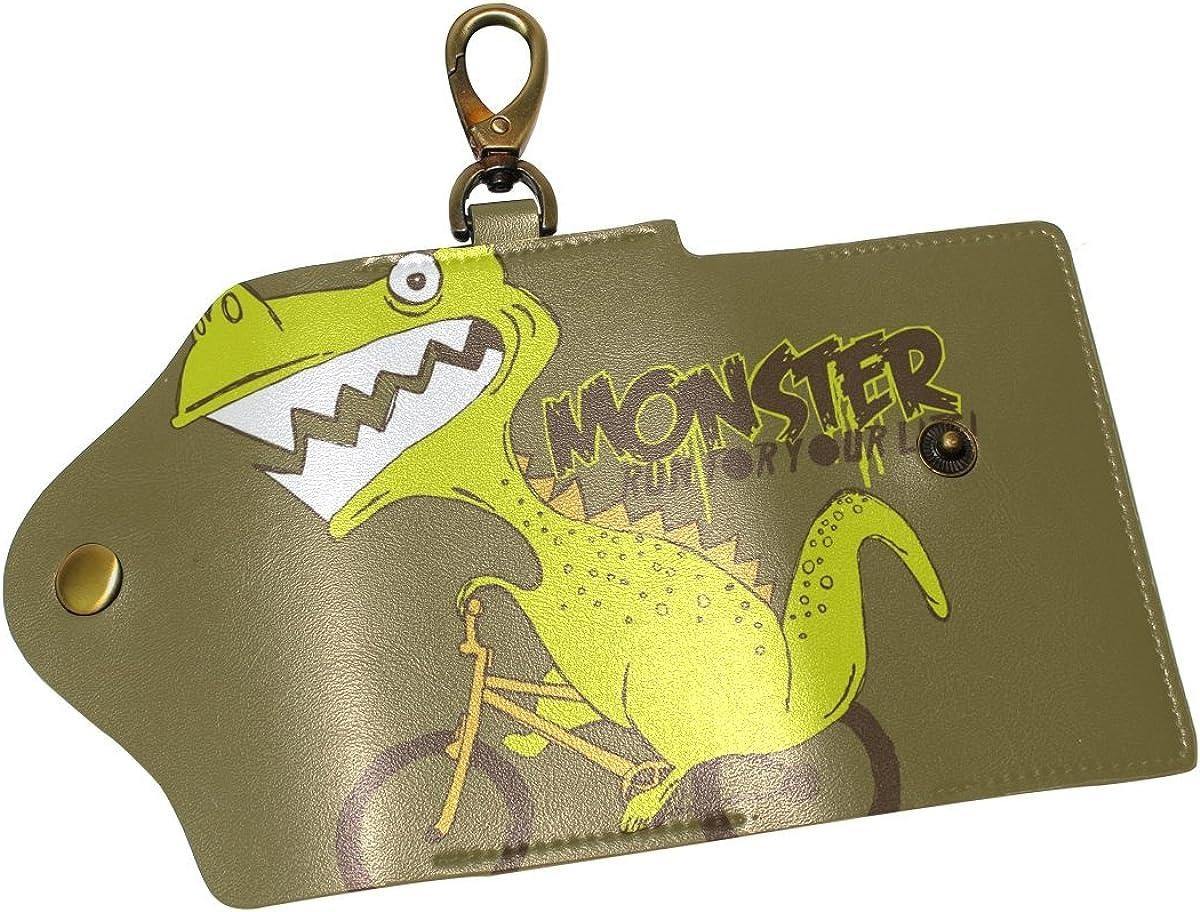 DEYYA Cartoon Dinosaur Leather Key Case Wallets Unisex Keychain Key Holder with 6 Hooks Snap Closure