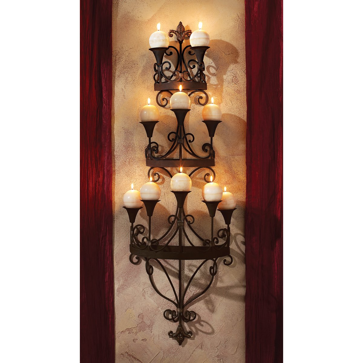 Design Toscano Carbonne Candle Chandelier Wall Sconce, Black