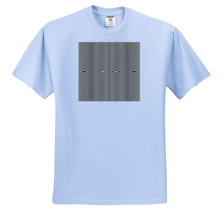 T-Shirts Op Art Wavy Line Pattern in Black and White 3dRose Russ Billington Patterns