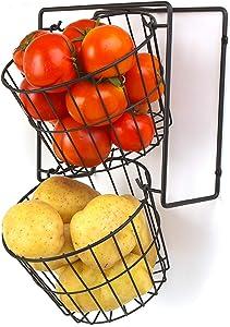 Fruit Basket Stand, LOTTS 2 Tier Metal Wire Basket Wall Mount, Black Hanging Storage Basket Organizer, Metal Multipurpose Rack for Fruit, Veggies, Potato, Onion, Snacks