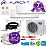 AlpicAir Multi Dual-Zone Ductless Mini-Split System 18,000 BTU Inverter Heat Pump (9k+12k)