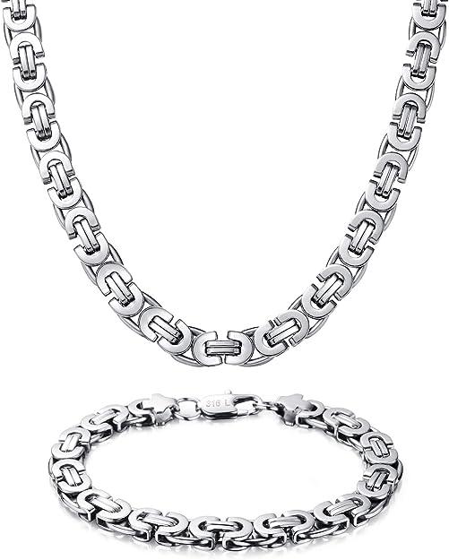 Westmiajw 8mm Stainless Steel Byzantine Chain Necklaces Bracelet For Men Boys 60cm Amazon Com