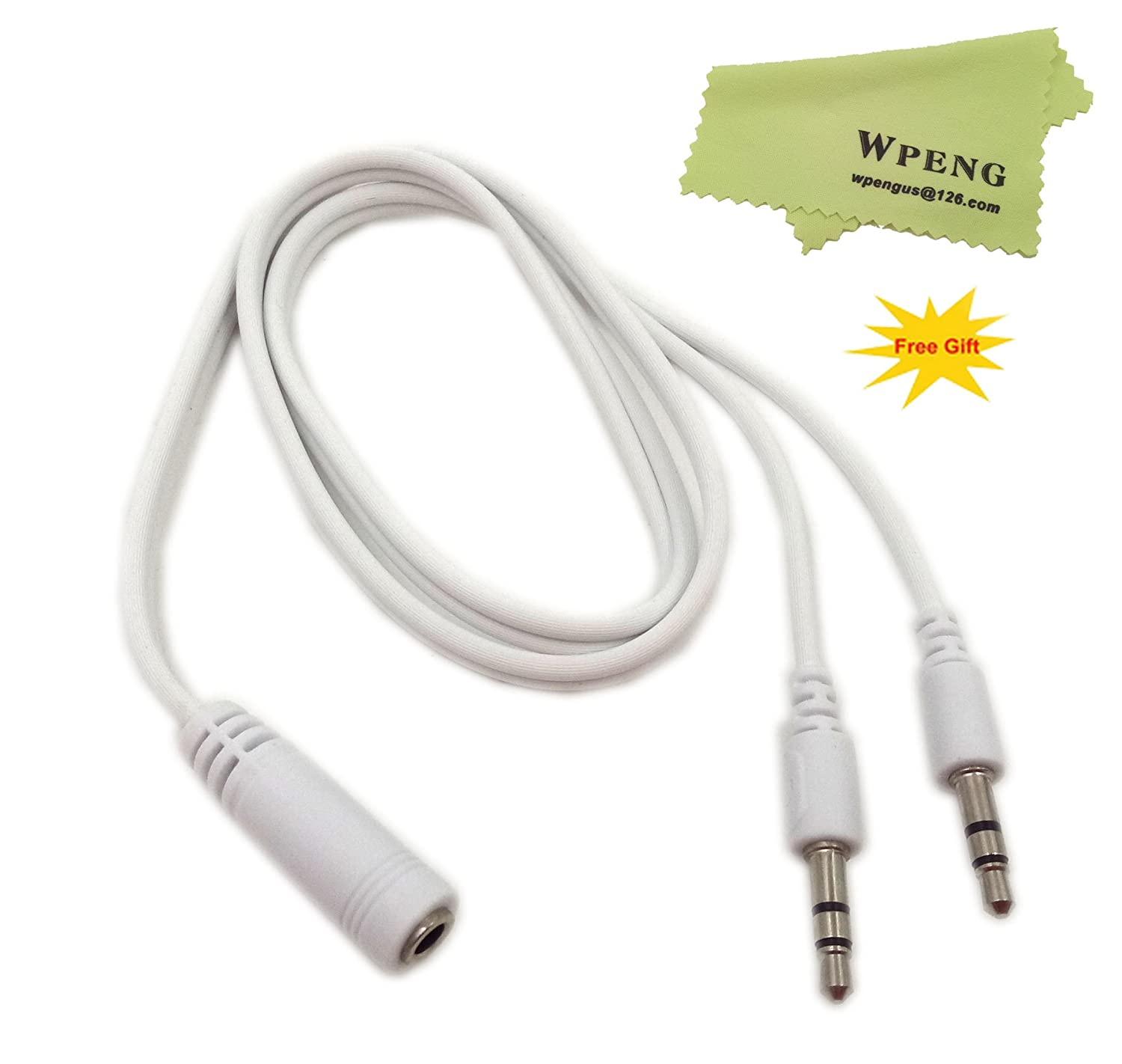 Wpeng 2Ft 3.5mm Female to 2 Male Headphone Mic Audio Y Splitter Cable with Separate Headphone / Microphone Plugs, White(3.5F/2 M) 4330110730