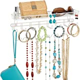 mDesign Decorative Metal Closet Wall Mount Jewelry Accessory Organizer for Storage of Necklaces, Bracelets, Rings…