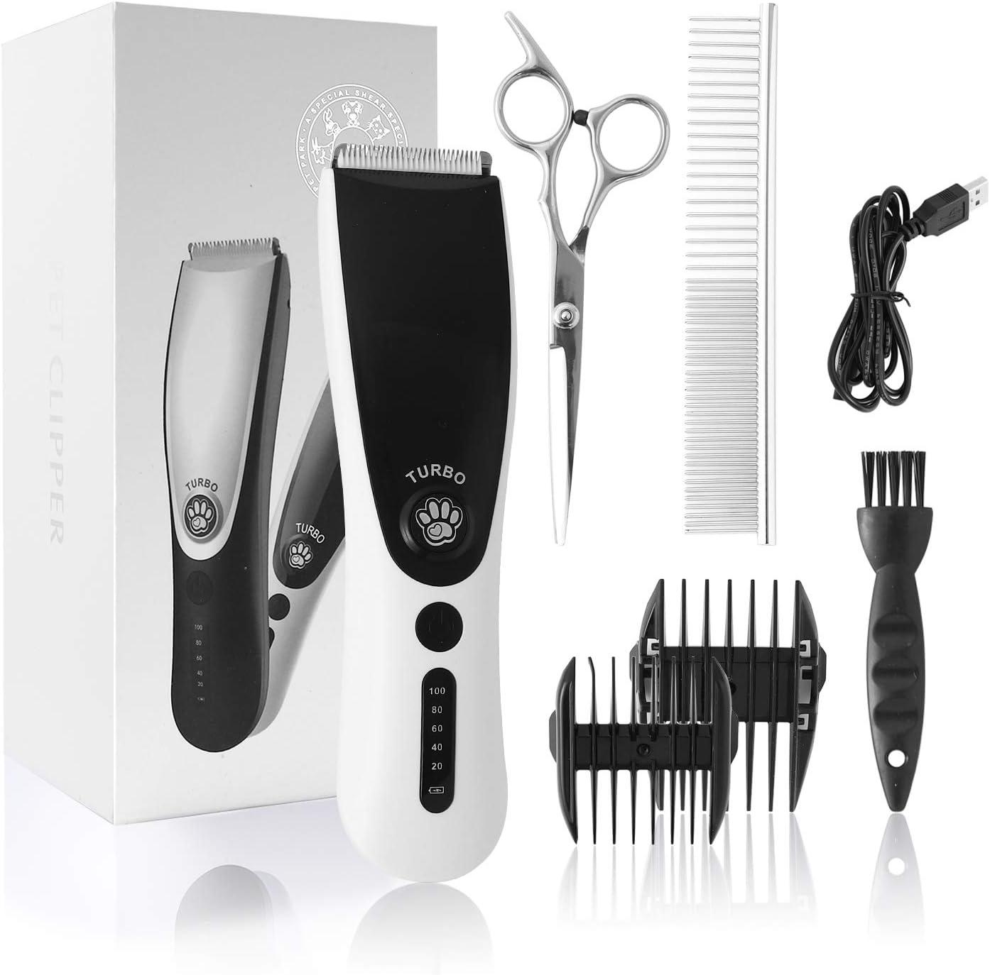 ZENIJUST Recargable eléctrico Pet Clipper Kit inalámbrico de Pelo para Mascotas Trimmer Kit de bajo Ruido Cat Hair Shaver cortapelos para Mascotas