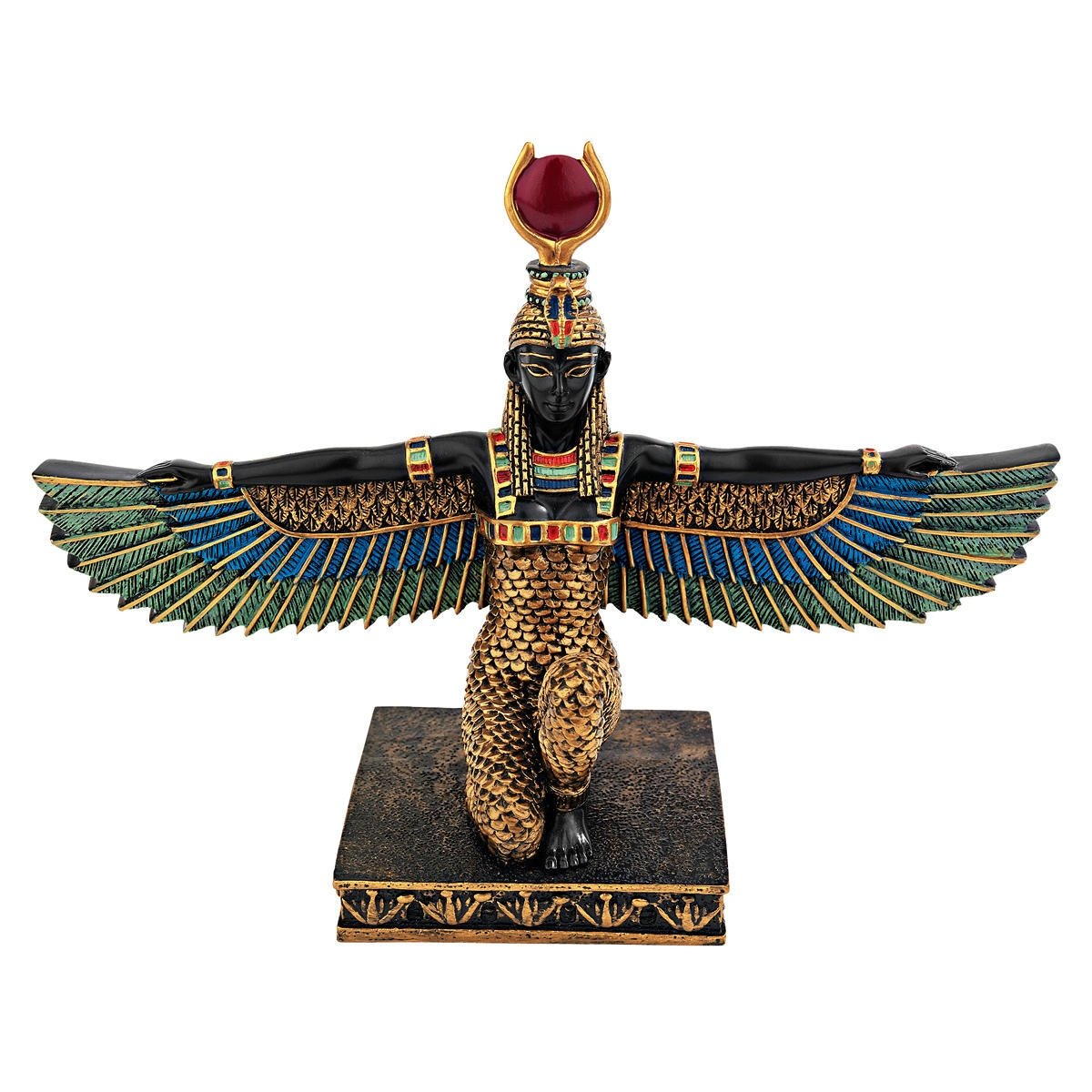 Design Toscano Isis Goddess of Beauty Egyptian Decor Statue, 23 cm, Polyresin, Full Color QL12219