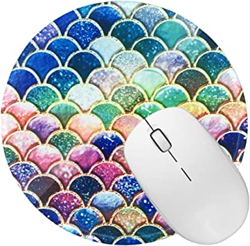 How Healthy is Your Mind Design Pattern Round Mouse Pad Desk Pad Non-Slip Rubber Mice Pads Stitched Edges Cute Round Mouse Pad for Office and Home