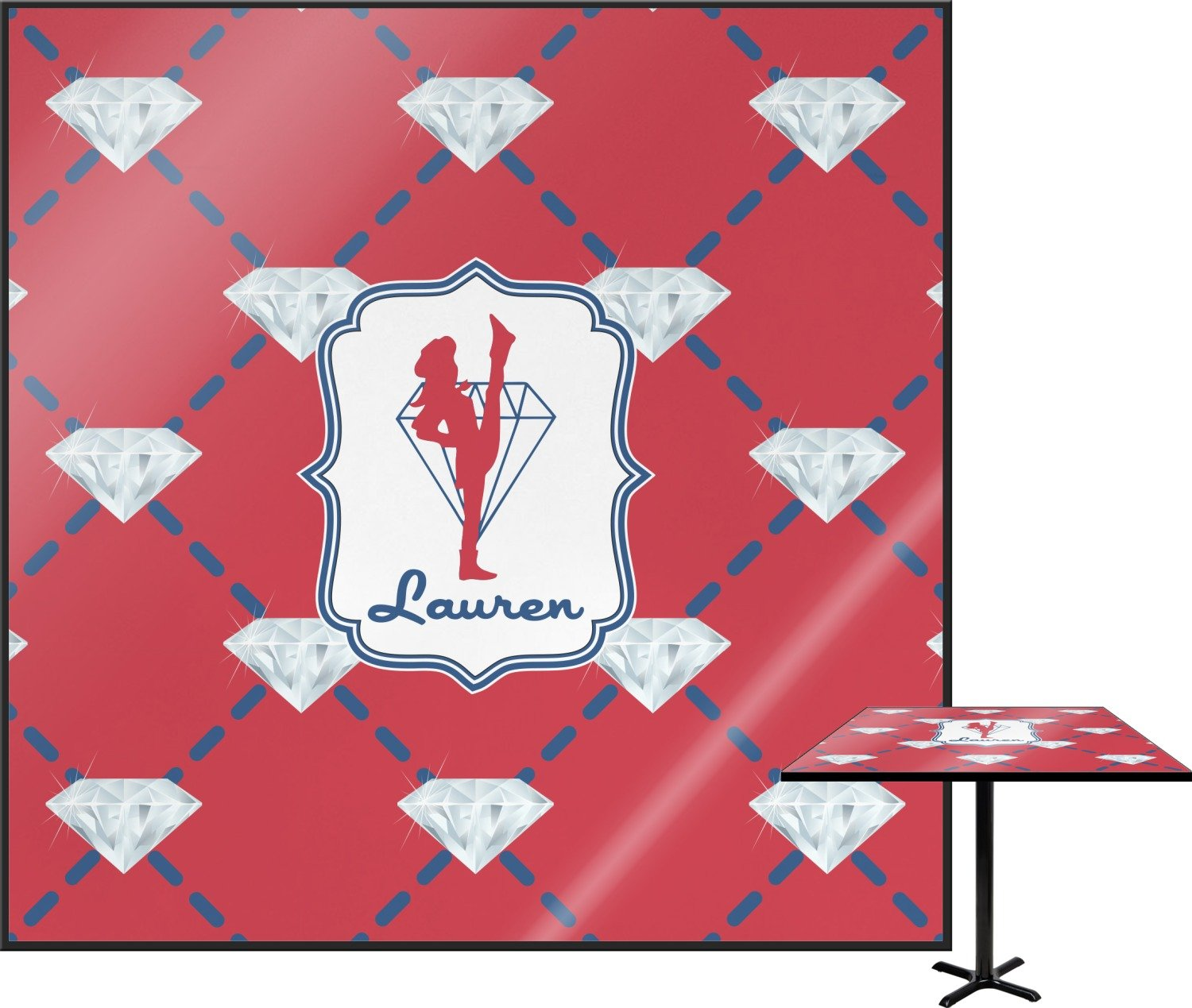 Red Diamond Dancers Square Table Top - 24'' (Personalized)