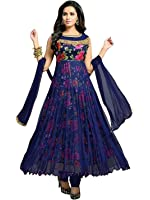 Palli Fashion Women's Bhagalpuri Silk Semi-Stiched Anarkali Dress (Navy Blue)