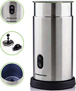 OVENTE FR1008S Electric Milk Frother and Warmer, Cordless, Hot/Cold with One Touch, Stainless Steel, BPA Free, 7 oz for Frothing • 14 oz for heating