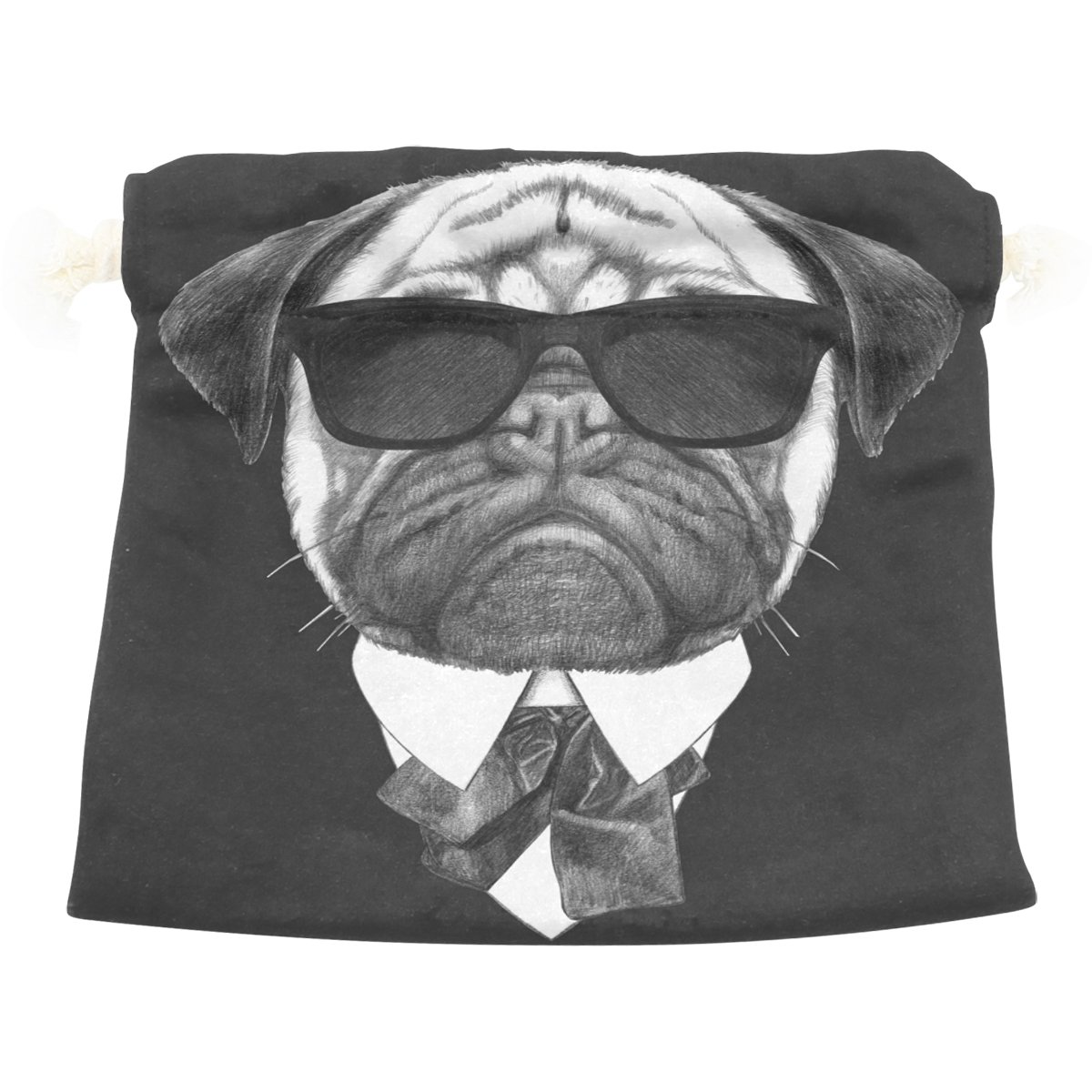 Dragon Sword Portrait Of Pug Dog In Suit Gift Bags Jewelry Drawstring Pouches for Wedding Party, 12.6x17 Inch