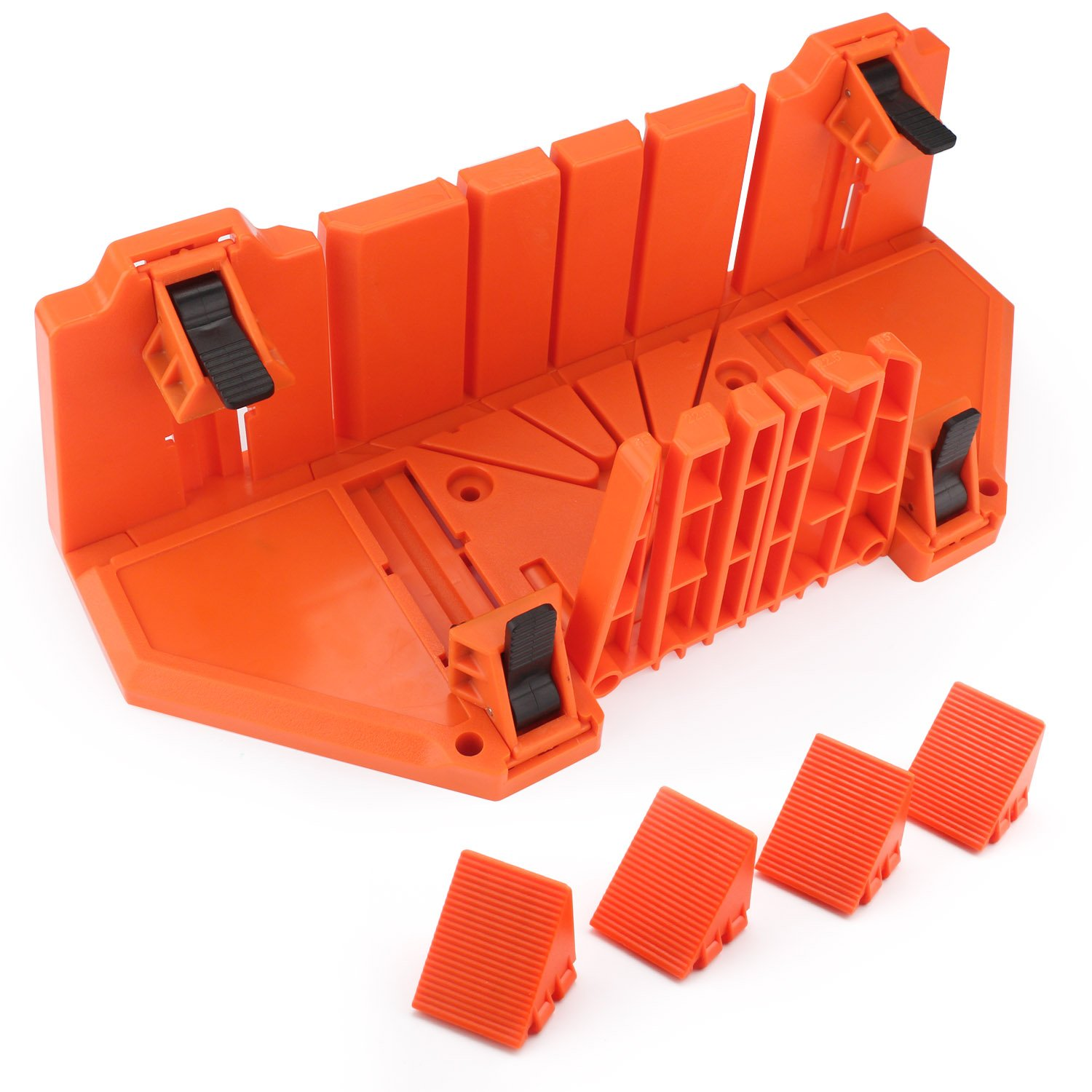 Clamping Mitre Box, EnPoint Woodworking Precision Mitre Box 12 Inch Plastic Mitre Saw Box Double Sided Teeth 0° 22.5° 45° Three Angle Slot Types Saw Box Craftsman Tool For Woodworker Woodcarver Carpen