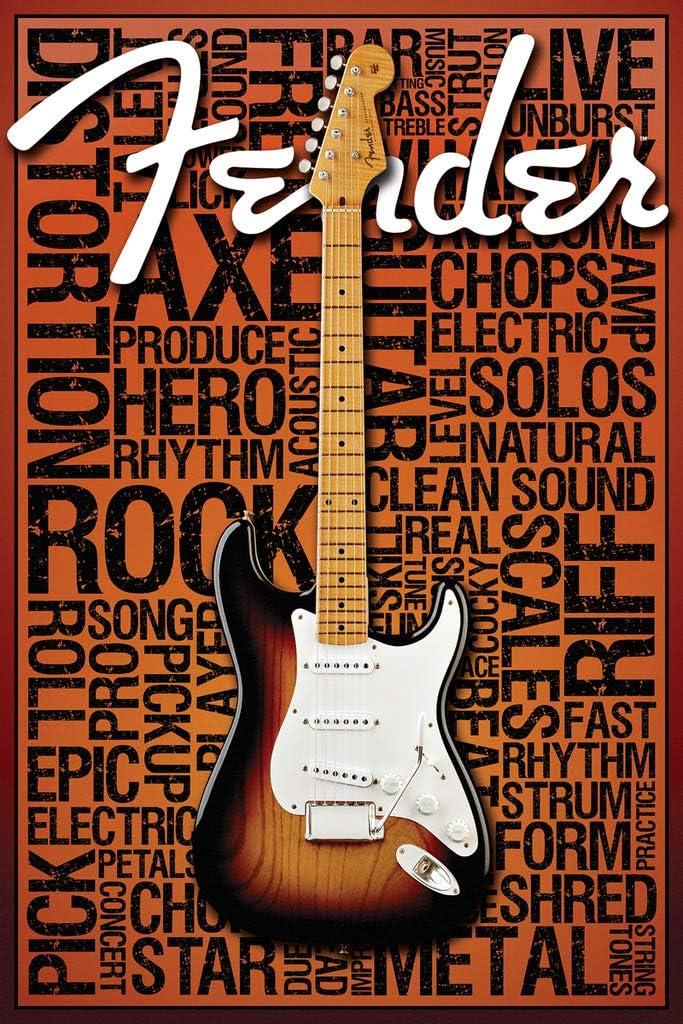 Fender Words 36x24 Art Print Poster Wall Decor Guitar Rock and Roll Strum Star Amps Fire Metal string Tones Strut