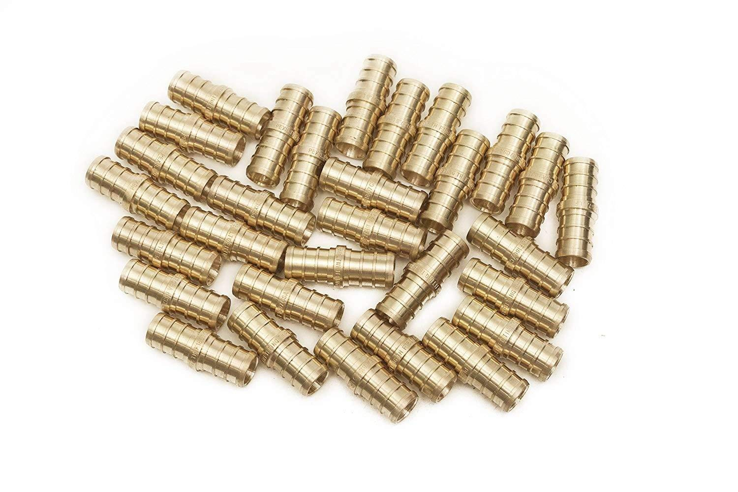 PEX 1/2 Inch Barb Straight Coupling Crimp Fitting - Bag of 50 pcs/Brass / 1/2''