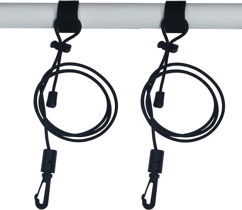 YYST 2 X Adjustable Kayak Safety Rod Leash Fishing Rod Paddle Leash - Black