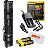 Premium Bundle: 6 Items- Nitecore P12GT 1000 Lumens Compact Tactical LED Flashlight, 2 x 18650 Rechargeable Batteries, i2 Two Channel Smart Charger, Car Charger Adapter, Lumentac Battery Organizer