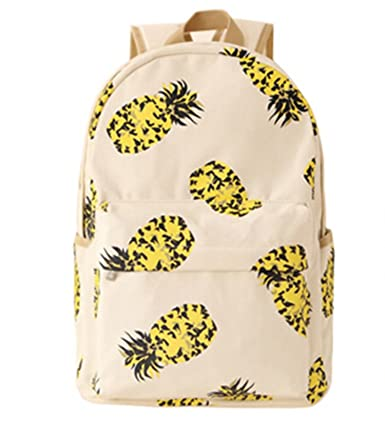 Fresh Canvas Women Backpack School Bag BackPack Schoolbag Bagpack Mochila Fruit Pineapple (Beige)
