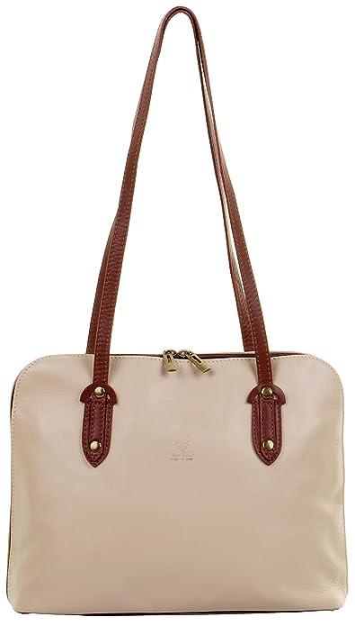 4c50c4dbe1b Primo Sacchi® Italian Soft Beige   Brown Leather Large Long Handled  Shoulder Bag Handbag,