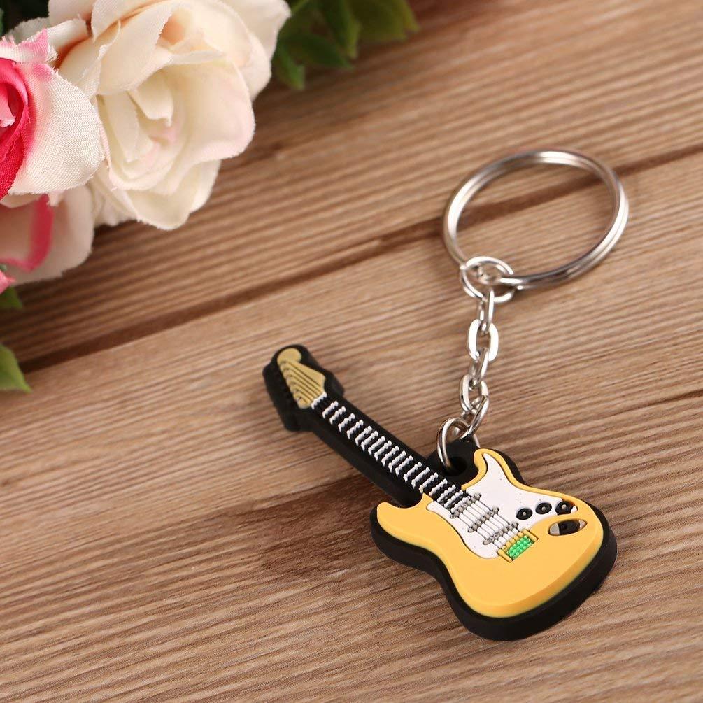 TAOHOU Llavero de Guitarra el/éctrica Llaveros de Silicona Llavero Llavero Llavero Llavero Regalos Amarillo y Blanco