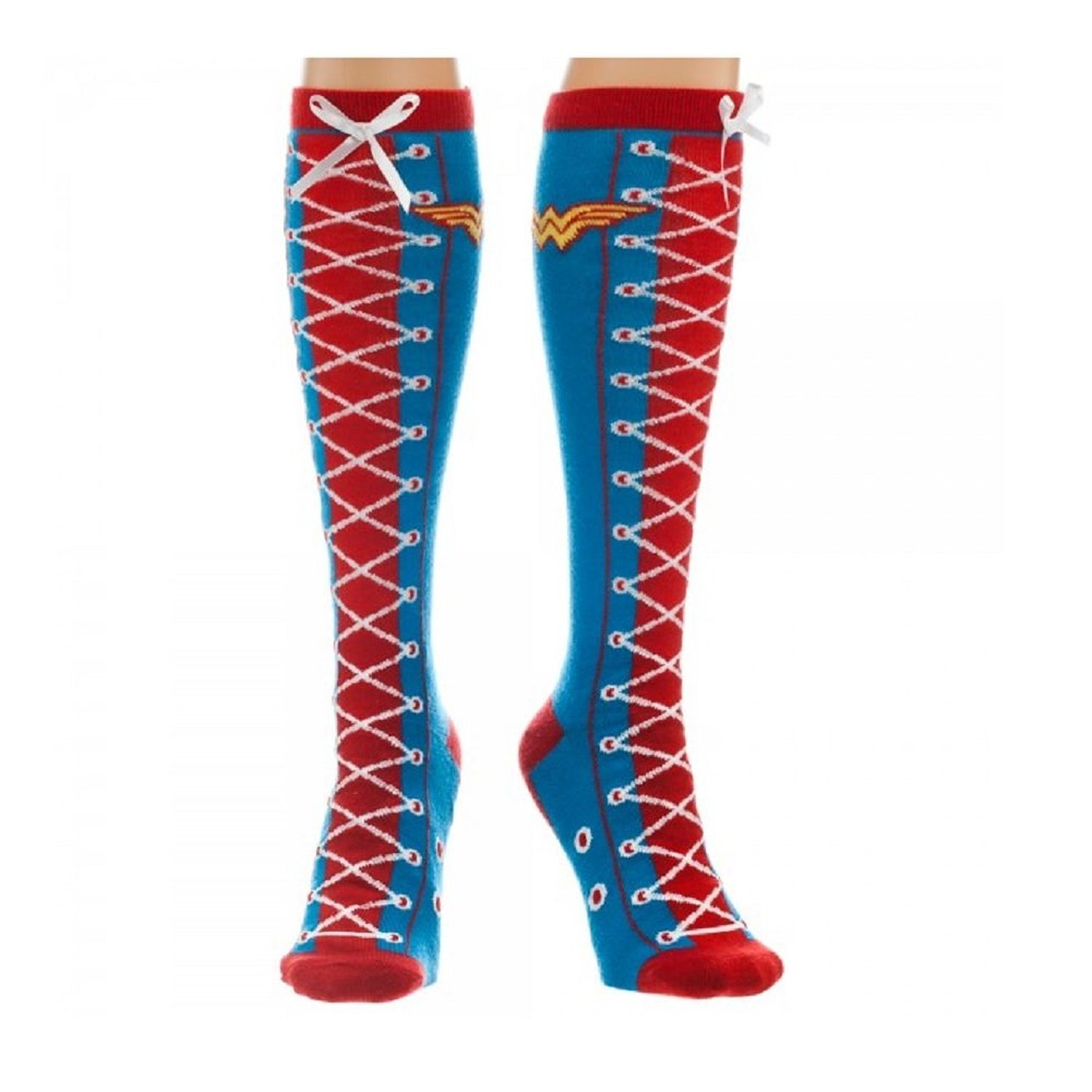 Wonder Woman Faux Lace Up Knee High Socks Size