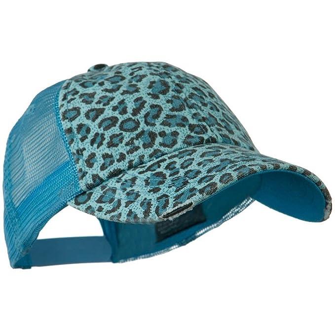mg midget baseball caps hat women print mesh canvas trucker cap blue leopard amazon clothing store logo