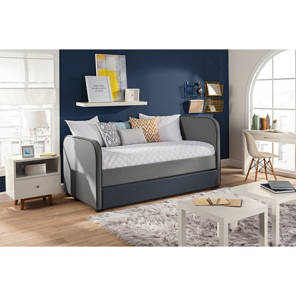 DHP Jesse Twin Kids Bed with Trundle in Gray Linen