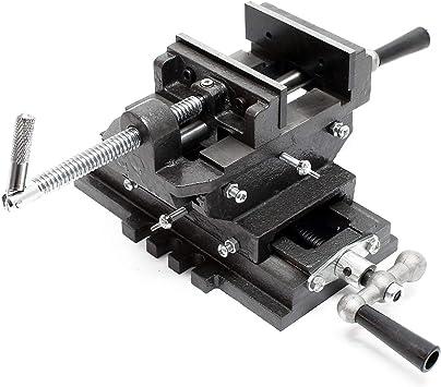 Máquina tornillo banco 2 Ejes 75mm Tornillo banco Mesa cruz Banco trabajo Taller Perforación Fresado: Amazon.es: Bricolaje y herramientas