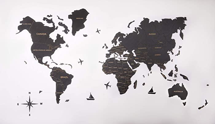 Wood Wall Map Wooden World Map Large Push Pin Map of the World Travel map  Rustic Home decor Office decor Wall decor Living room modern design home ...