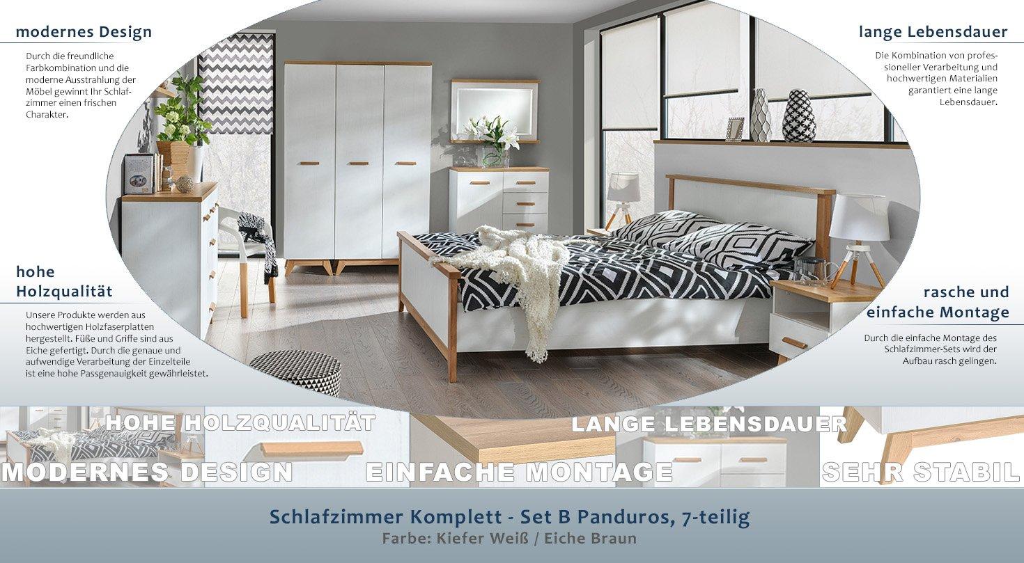 Schlafzimmer Komplett - Set B Panduros, 7-teilig, Farbe: Kiefer Weiß ...