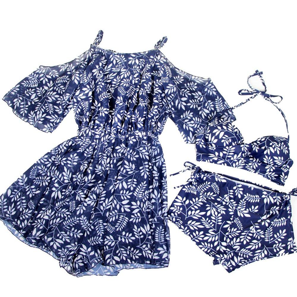 女性の 水着 裸の肩 花で 水着 水着 分割タイプ 3セット ビーチ ホリデー スパ 水着 (Color : Blue, Size : M) B07F3XM13H