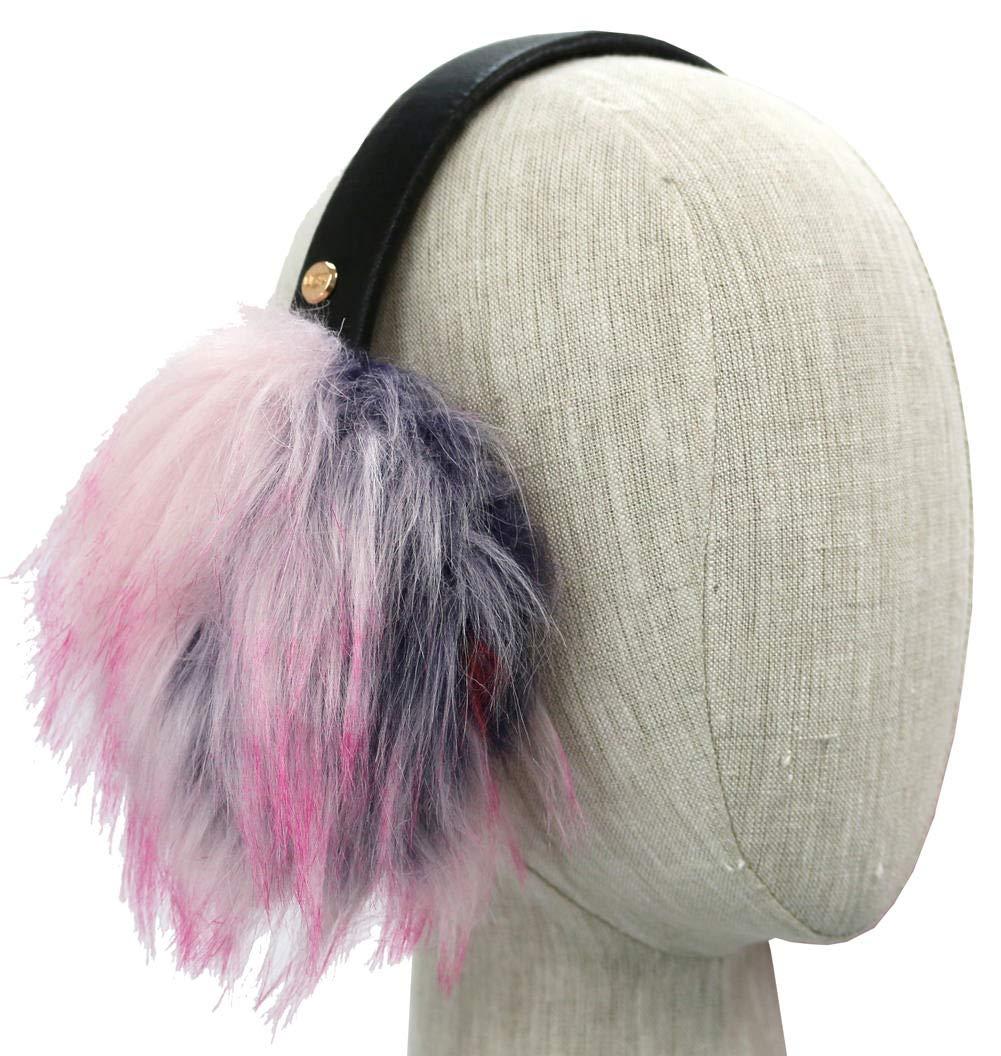 UGG Womens Faux Fur Patchwork Earmuff in Black Multi