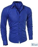 LOKOUO Slim Plus Size 5XL Solid Color Classic Formal Mens Shirt Multicolor Long Sleeve Turn-down Collar Slim Fit Plaid Dress Shirt Cool