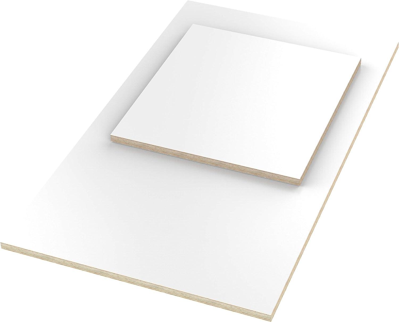 AUPROTEC 12mm Plateau de Table blanc 400 mm x 200 mm Contreplaqu/é rev/êtu en m/élamine 40cm-200cm au choix Panneau de Contreplaqu/é en Bouleau rectangulaire 40x20 cm