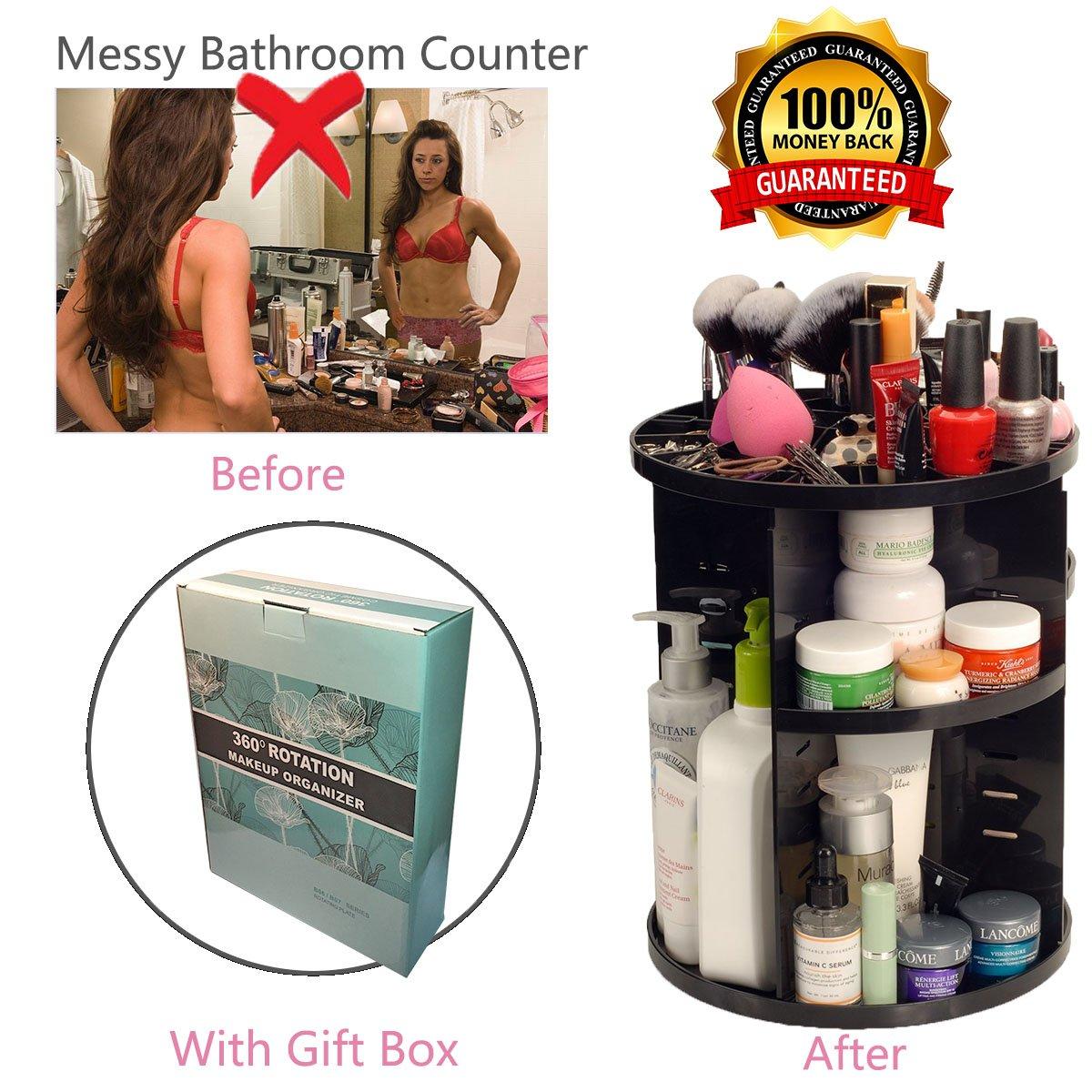 DQ 360 Degree Rotating Makeup Organizer,Bathroom Cosmetic Storage Box,Beauty Makeup Holder,Bathroom Counter Organizer for transformed bathroom counter(black)
