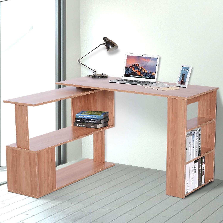 Homcom - Escritorio esquinero multiposición con 5 estantes, madera ...