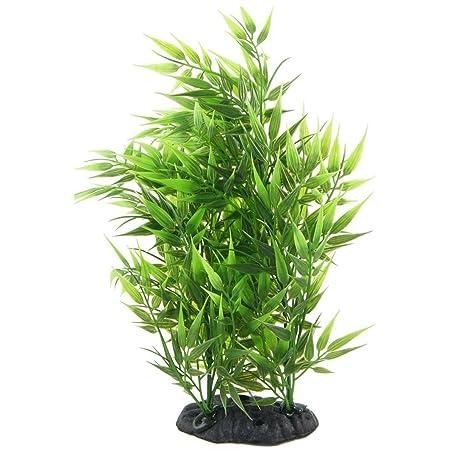 SODIAL(R) Hierba artificial decorativa en forma de hojas de bambu verde para acuario